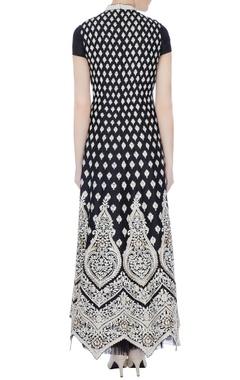 black raw silk embroidered maxi dress