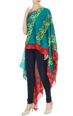 Teal blue linen bundi asymmetric blouse