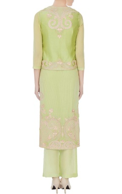 Light green georgette embroidered kurta with pants & jacket