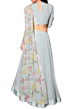 sea blue lehenga with draped floral printed blouse