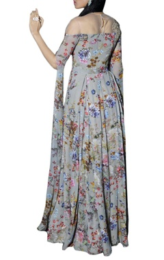 Ash grey floral printed anarkali with extended sleeves