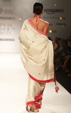 Ivory embellished sari with ruffled blouse
