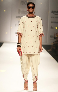 ivory embroidered backless tunic with cowl dhoti pants