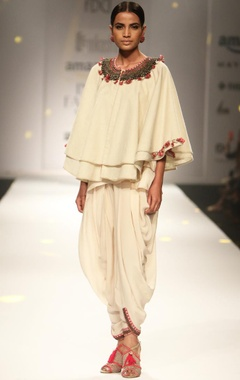 Ivory khadi cape with cami top & cowl dhoti
