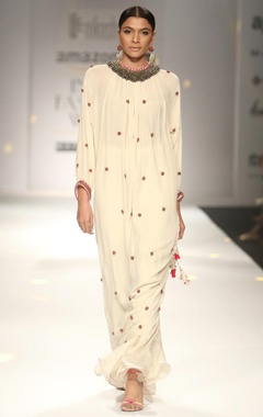 Ivory embroidered long kurta with sharara