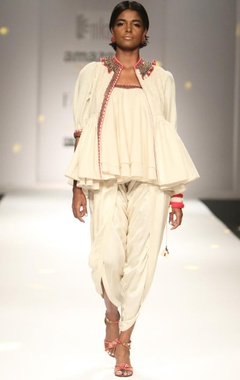 ivory khadi jacket with ruffled top & dhoti pants