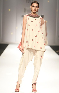 Ivory embroidered kurta with overlap dhoti pants