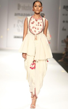 Ivory khadi embroidered top with cowl dhoti pants