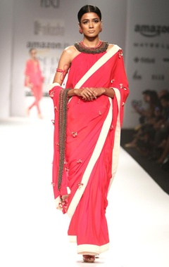 red tassel embroidered sari with matching blouse