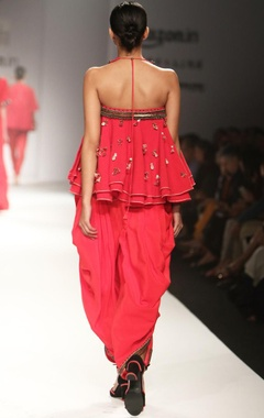 Red embroidered & ruffled top with cowl dhoti pants