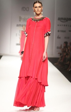 Nikasha Red embroidered tunic with gathered maxi skirt