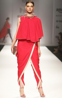 red khadi asymmetrical top with overlap dhoti pants