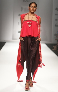 Red ruffled top with embroidered overjacket & printed jodhpuri pants