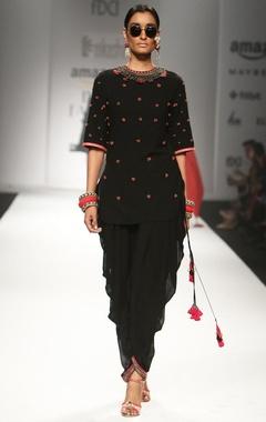 black embroidered backless tunic with jodhpuri pants