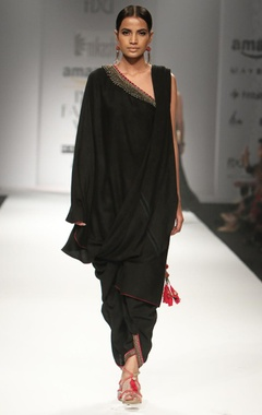 Black one off shoulder long blouse with pallu & dhoti pants