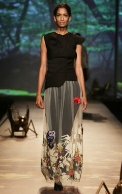 Black sculpted top withivory applique skirt