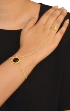 Gold finish black & jade stone haathphool