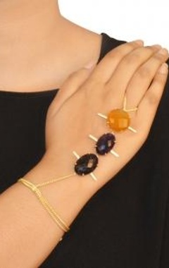 Gold finish amethyst & amber haathphool