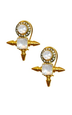 Gold plated crystal & dimante spike studs