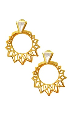 Gold plated crystal pyramid hoop earrings