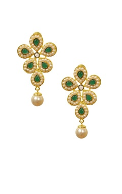 Gold plated pearl & emerald stone floral earrings