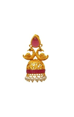 Gold plated pink peacock jhumkas