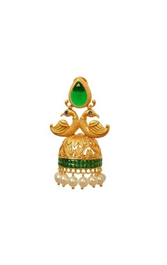 gold plated emerald peacock jhumkas