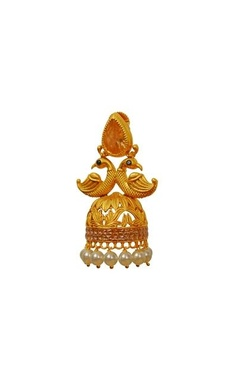 Gold plated amber peacock jhumkas