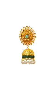 Gold plated pearl & green crystal jhumkas