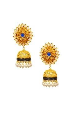 Gold plated pearl leaf & blue crystal jhumkas