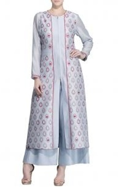 Ice blue & pink motif tunic with palazzos