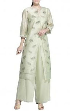 Pale green bird printed tunic with palazzos