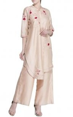 Light pink floral embroidered layered tunic
