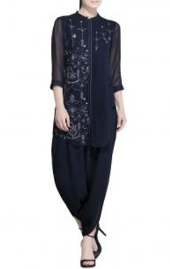 navy blue parrot embroidered tunic