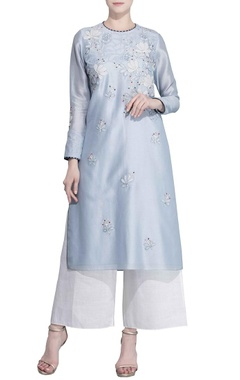 Ice blue floral applique tunic
