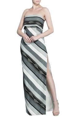 White & grey striped printed dress