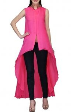 Fuschia embellished high low tunic