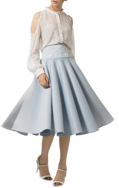 Ice blue circular embellished skirt