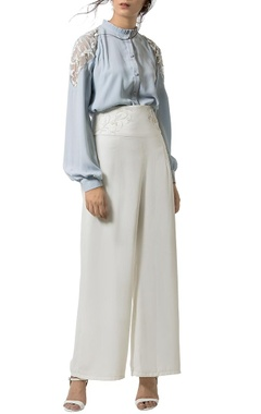 Ice blue embellished frill shirt