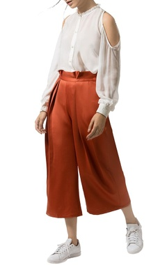 Burnt orange pleated culottes
