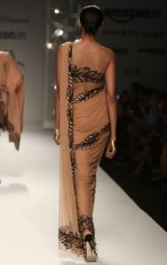 Nude & black feather sari