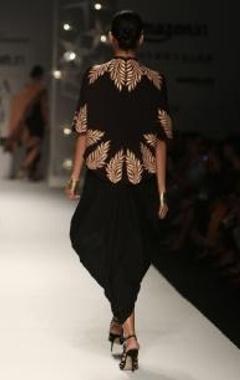black & beige feather short cape