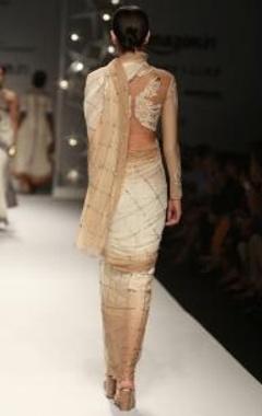 ivory & beige  peacock sequin sari