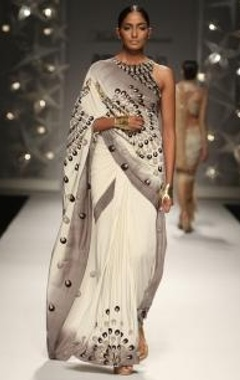 ivory & grey ombre peacock feather sari