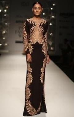 Black & beige feather column gown