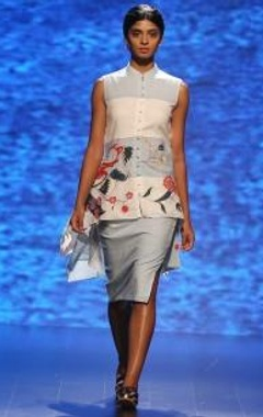 Powder blue fitted skirt