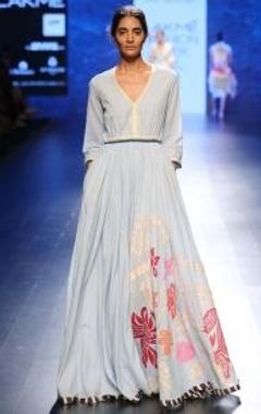 Powder blue applique flared dress