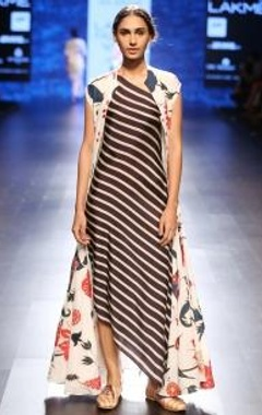 black & ivory striped asymmetrical dress