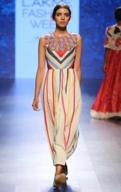 White & multi colored striped applique dress