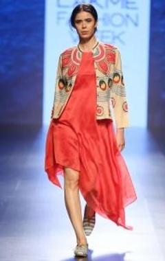 Red shibori striped asymmetrical dress
